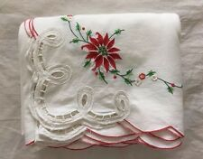 """Large Christmas Tablecloth ~ 116""""x66"""" ~ Embroidered Poinsettias & Lace Cutouts"""