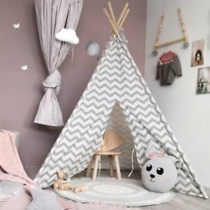 Details about Kids Teepee Tent Gray Canvas Wigwam Childrens Gift Indoor  Outdoor Tipi playroom