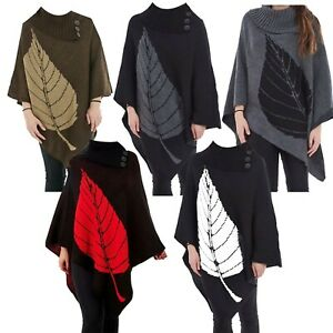 New Womens Poncho 3 Button Ladies Long Knit Cape Shawl Jumper Top One Size 8-18