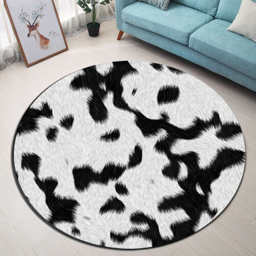 Round Floor Mat Bedroom Carpet Black /& White Leopard Fur Living Room Area Rugs