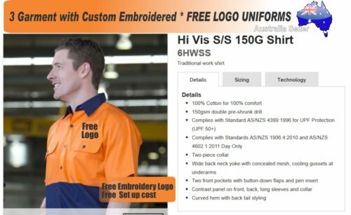3 Cus HiVis SS Shirts with Your Embroidered FREE YOUR LOGO 474