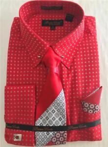 Men/'s Bruno Conte French Cuff White Dress Shirt Tie Hanky Set Round Collar Bar