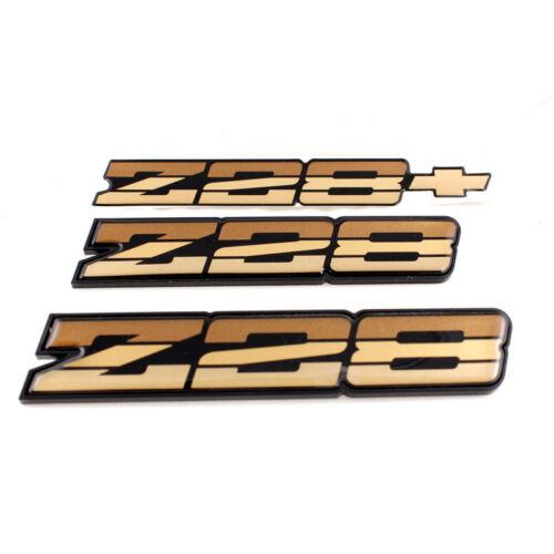 82-87 Camaro Z28 OEM Tri Color Gold Rocker Emblem Set *Z28TRIGOLDOEREP