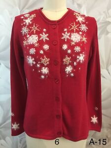 Ugly Christmas Sweater Merry & Bright Womens Red White Cotton Blend Sz S Euc