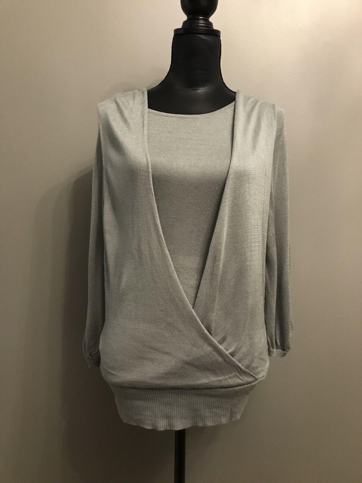 BCBG Maxazria Light Teal Drape Knit Silk-Blend Top Blouse Small