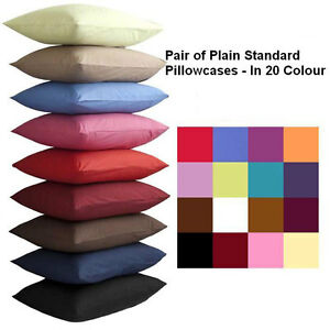 Pair Of Plain Dyed Standard Pillow cases - In 20 Colours