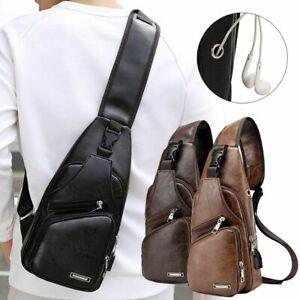Men Shoulder Sling Pack Chest Bag USB Port Leather Crossbody Handbag Backpack
