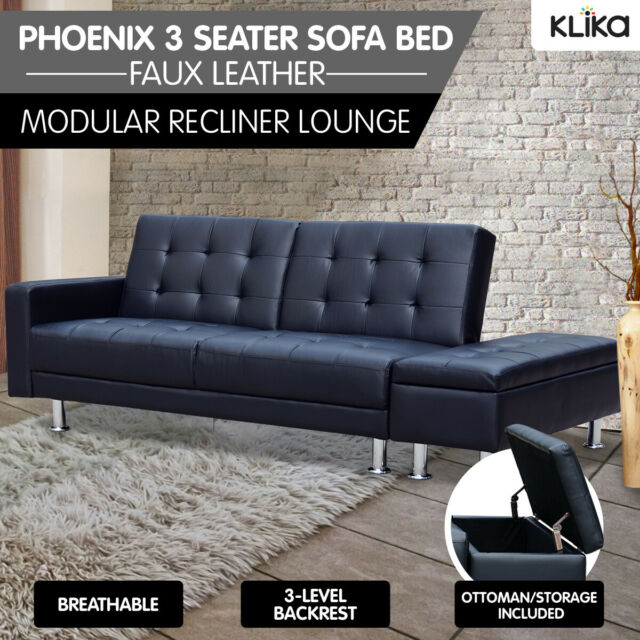 Fabulous Faux Leather Sofa Bed Lounge Couch Futon Furniture Ottoman Suite Black Frankydiablos Diy Chair Ideas Frankydiabloscom