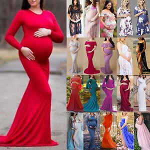 e4610748165b5 Womens Off Shoulder Plain Ruffle Maternity Long Maxi Dress Pregnancy ...