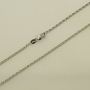 14K-Real-White-Gold-2-1mm-Classic-Rolo-Cable-Chain-Necklace-18-034-Inches-Women