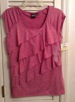 Rafaella Sportswear Tiered Ruffle Top Purple Plum Size M Medium Women's