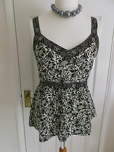 Black-And-Cream-Embellished-Strappy-Camisole-Top-Size-16-BNWT