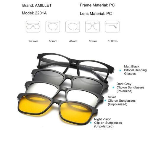 Unique Bifocal Reading Glasses Magnetic Clip-on Sunglasses Polarized 1.0 1.5 2.0