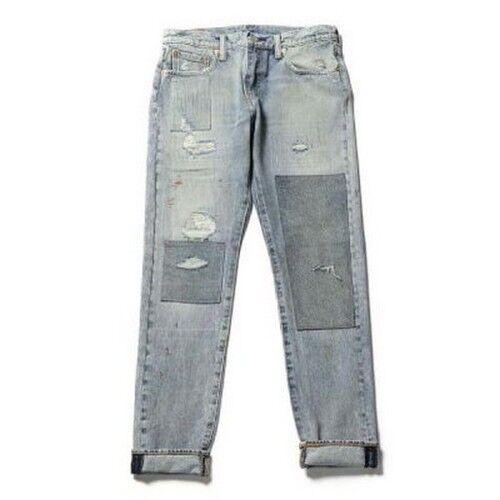 New Lev's Mens 512 0083 Slim Fit Tapered Distressed Stretch Denim Jeans 33 x 34