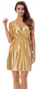 new product 179a4 69582 Mini Abito Vestito Corto da Donna Sera Party Oro Senza ...