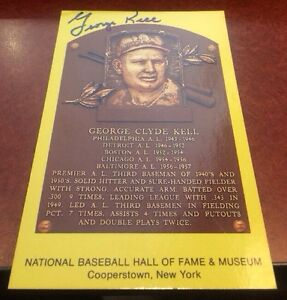 GEORGE-KELL-Autographed-Signed-AUTO-INDEX-CARD-3X5-HOF-PLAQUE