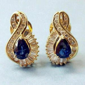 3CT Baguette Cut Sapphire /& Diamond 14K Yellow Gold Finish Pretty Hoop Earrings
