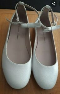 EUC MARC by MARC JACOBS white cracked leather round toe ballet flat shoes US8