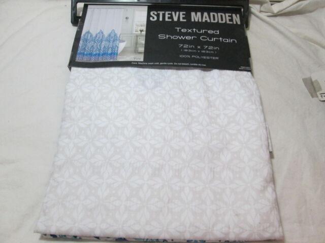 New Steve Madden Textured Medallion VERA Shower Curtain 72x72 Blue Beige White