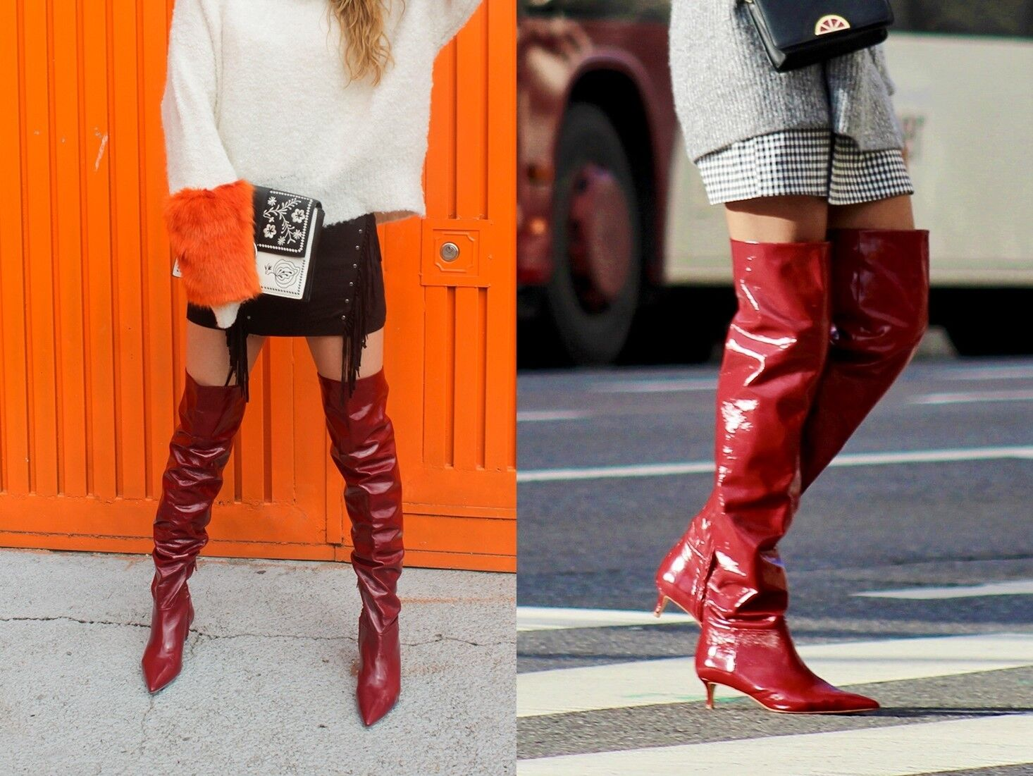 caac12635b7f ... ZARA BLOGGER BOOTS OVERKNEE STIEFEL ROT LEDER BOOTS BLOGGER LEATHER RED  36 37 38 39 40 ...