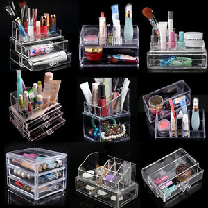 acrylic make up cosmetic case lipstick liner brush holder organizer drawer stand ebay. Black Bedroom Furniture Sets. Home Design Ideas