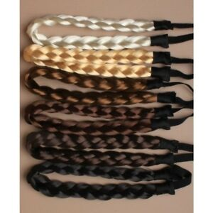 LADIES BRAIDED SYNTHETIC HAIR PLAITED PLAIT ELASTIC HEADBAND