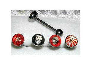 Lot-de-4-Piercing-sous-blister-piercing-langue-Barbell-crane-flamme-piercing-lot
