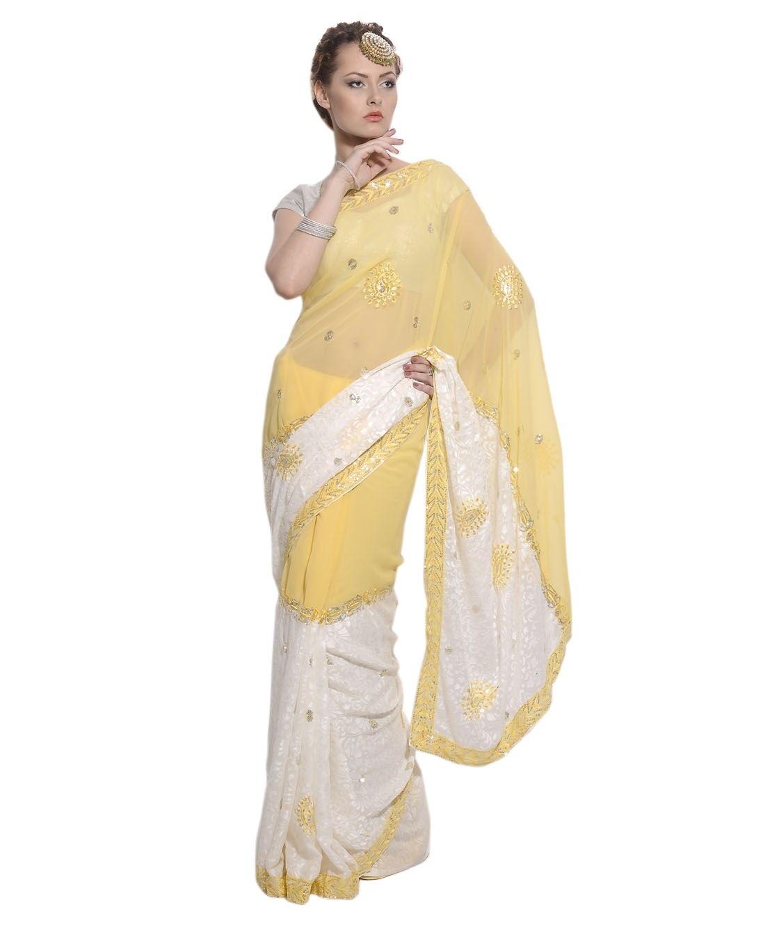 Trendy Exclusive Designer Sari Yellow Brasso Saree Designer Dress Indian Outfit