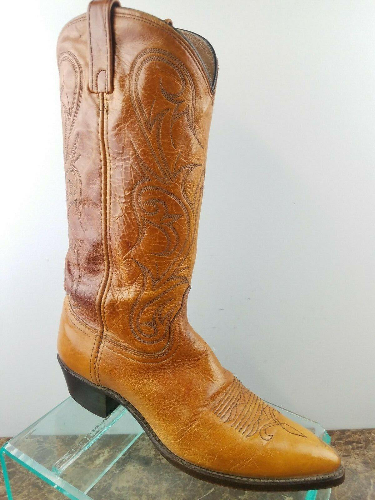 Dan Post braun Leather Tooled Western Slip On Snip Toe Cowboy Stiefel Mens 9M