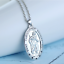 Saint-St-Christopher-Medal-Protect-Us-Oval-Silver-Plated-Pendant-Necklace miniature 4