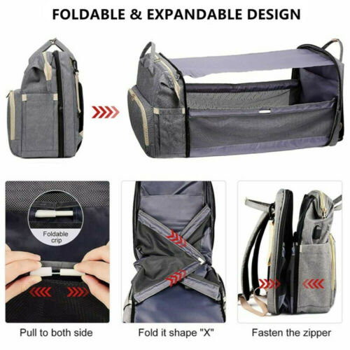 Portable Mummy Bag Nappy Diaper Crib Travel Folding Baby Bed Backpack