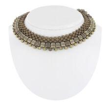 Necklace Fringe Collar Choker Lucite Woven Beaded Light Green Tribal Vintage