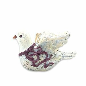 Dove-Christmas-Ornament-Ceramic-Look-Resin-Highly-Detailed-4-Inch-Long