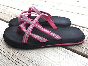 Womens TEVA Olowahu Pink Magenta Slip On Sandals flip flops 6840 Size 8 Women's