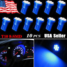 10X Blue T10 W5W 192 194 158 8-SMD LED Instrument Cluster Interior Light Bulbs