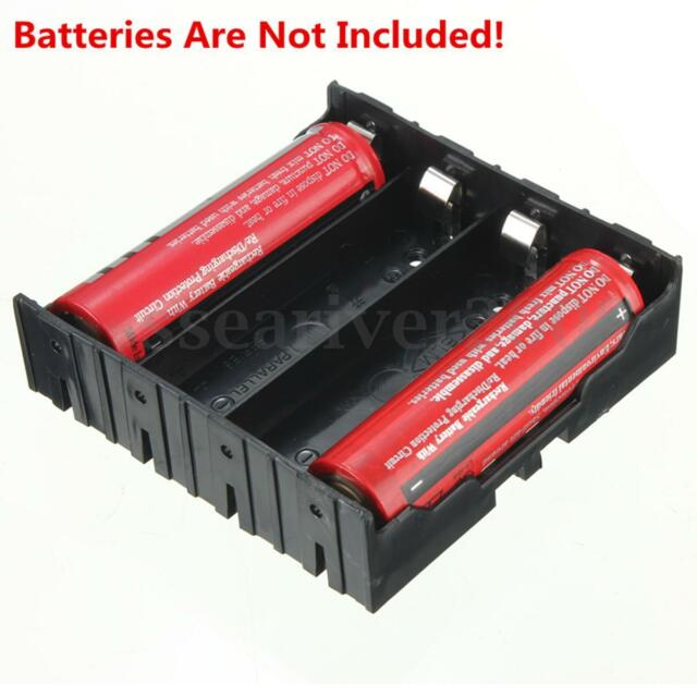 1pcs DIY Black Storage Box Holder Case For 4 x 18650 3.7V Rechargeable Batteries