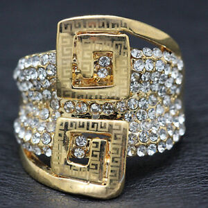 d54be3bbe 18k Gold Large Ring made w/ Swarovski Crystal Pave Stone Gorgeous ...