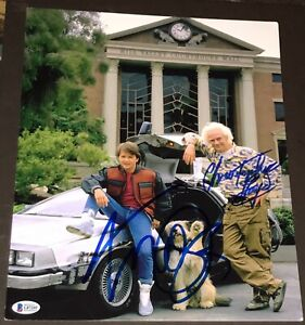 MICHAEL-J-FOX-CHRISTOPHER-LLOYD-BACK-TO-THE-FUTURE-SIGNED-11x14-PHOTO-RARE-BAS