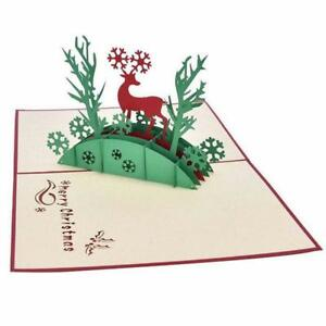 3D-Merry-Christmas-greeting-card-Deer-and-tree-Xmas-Holiday-Family-Gift-Cards