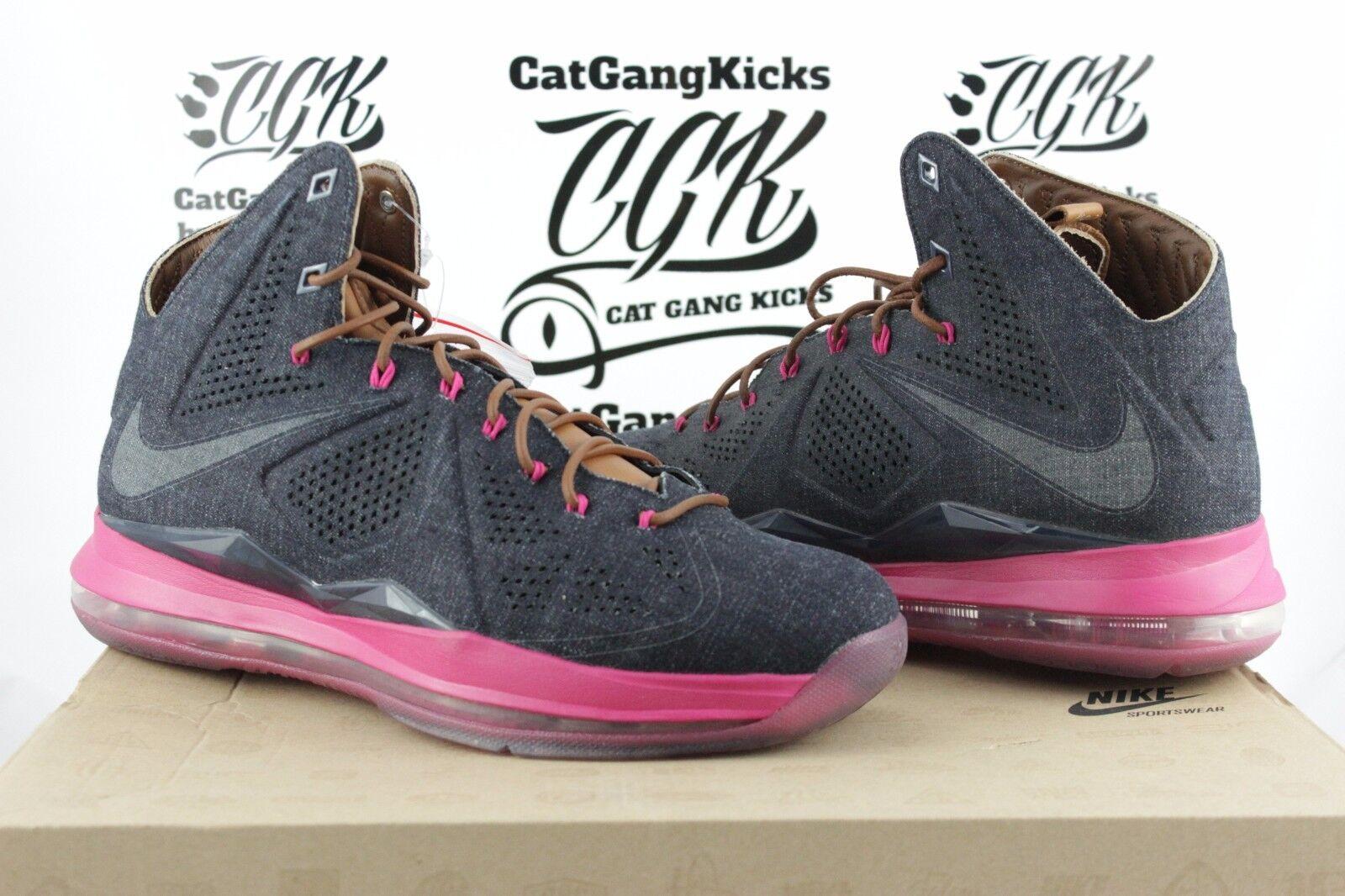 DS Nike LeBron X 10 EXT Denim QS Sz 9 Navy Hazelnut Fireberry 597806-400 James