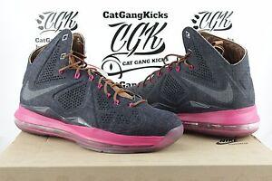DS-Nike-LeBron-X-10-EXT-Denim-QS-Sz-9-Navy-Hazelnut-Fireberry-597806-400-James
