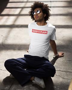 God/'s Plan Red Box Logo T-Shirt Funny Hip Hop Rap Savage Style Mens Tee White