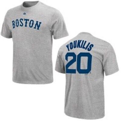 Vereinigt Mlb Baseball T-shirt Boston Red Sox Kevin Youkilis #20 Grau Mit Dem Besten Service Weitere Ballsportarten Fanartikel