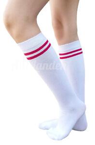43c5a338d AM Landen White/Red Stripe Knee High Socks Stripe Socks Knee Socks ...