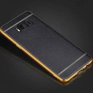 Custodia-Bumper-Chrome-Leather-Nera-per-Samsung-Galaxy-S8-Plus-G955F-cover-case