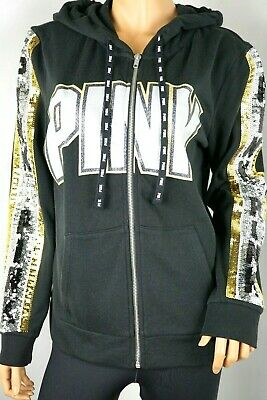 NWT Victoria's Secret PINK Bling Perfect Hoodie Pocket Black