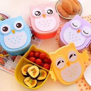 Eulen-Mittagessen-Kasten-Kinder-Brotdose-Sandwichbox-Lunch-Bento-Box-4-yY