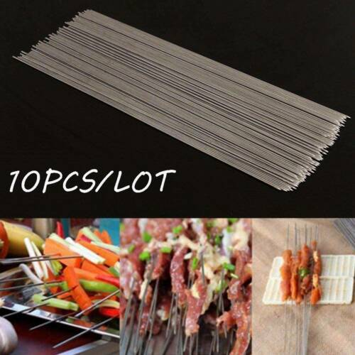 Useful 10X Stainless Steel Camping Barbecue BBQ Skewers Needle Kebab Kabob Stick