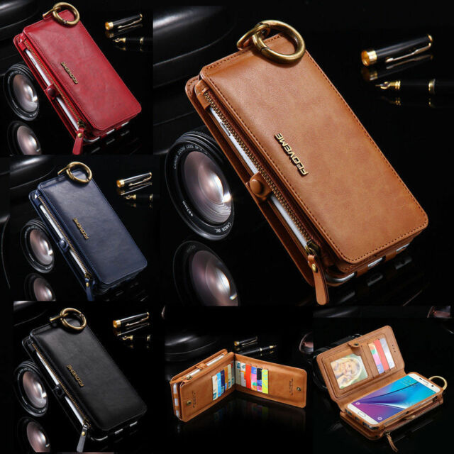 Genuine Leather Removable Wallet Flip Card Case Cover For Samsung Galaxy S8+Plus