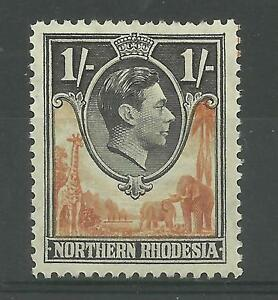 N.Rhodesia, 1938 Sg 40, 1/- Yellow-Brown & Black, Lightly Mounted Mint [690]